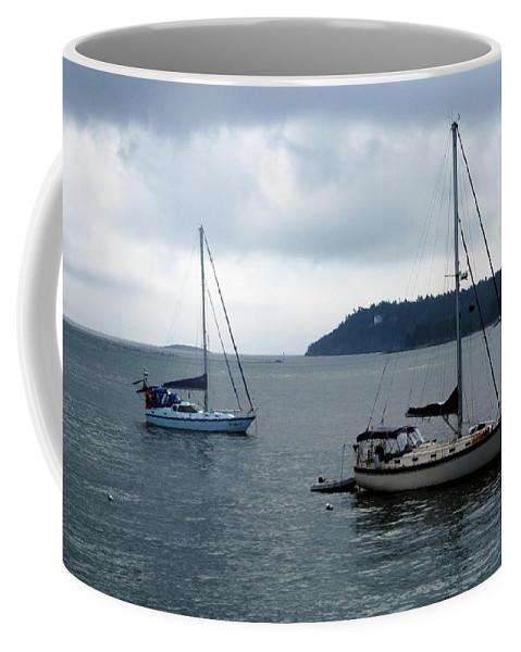 Sailboats Coffee Mug featuring the photograph Sailboats In Bar Harbor by Linda Sannuti