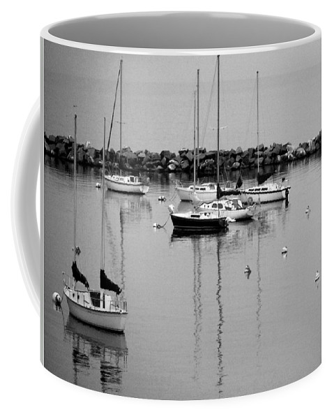Sailboats Coffee Mug featuring the photograph Sailboats Resting B-w by Anita Burgermeister