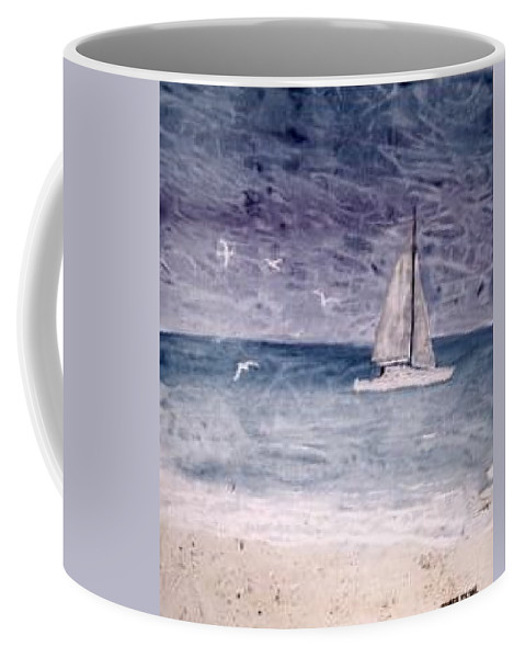 Watercolor Seascape Sailing Boat Landscape Painting Coffee Mug featuring the painting Sailing At Night Nautical Painting Print by Derek Mccrea