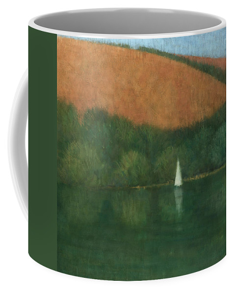 Seascape Coffee Mug featuring the painting Sailing At Trelissick by Steve Mitchell