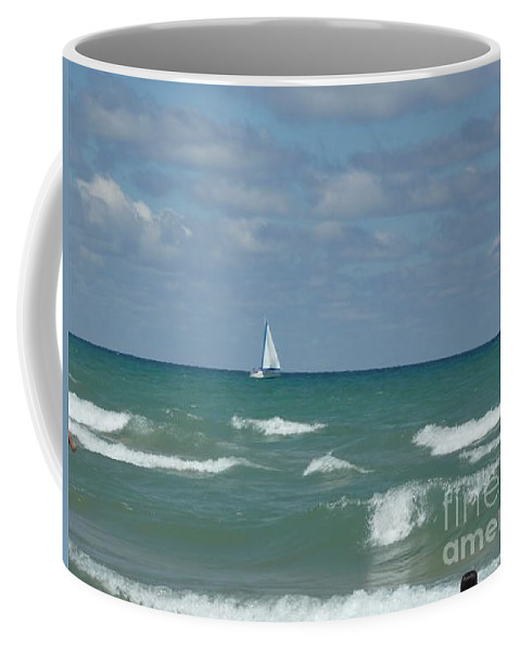 Scenery Coffee Mug featuring the photograph Sailing Away On The Lake by Barb Montanye Meseroll