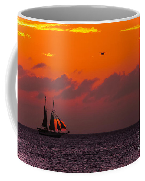 Sunsets Coffee Mug featuring the photograph Sailing Boat At Sunset by Claudia M Photography