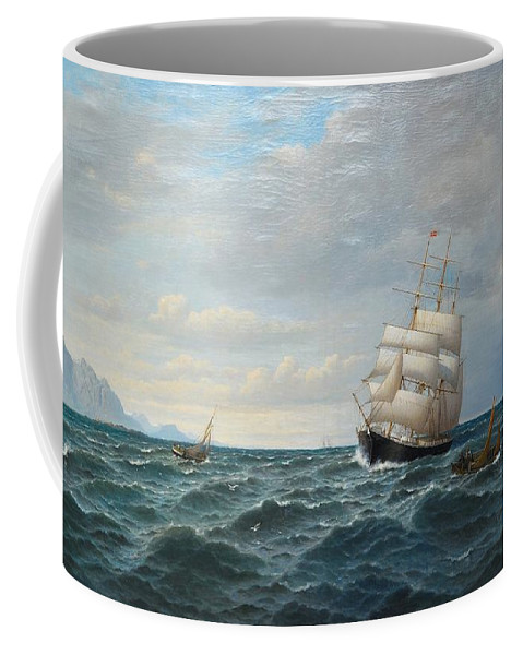 Oscar Kleineh Coffee Mug featuring the painting Sailing By The Coas by MotionAge Designs