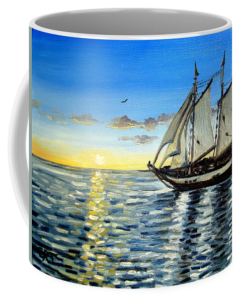 Seascape Coffee Mug featuring the painting Sailing Day Sunset by Elizabeth Robinette Tyndall