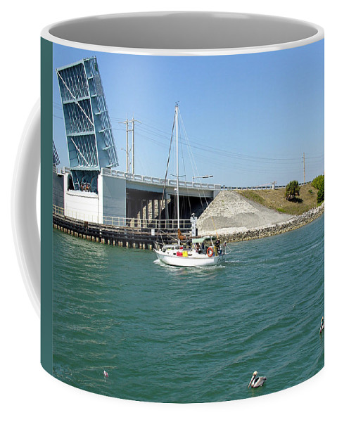 Port; Canaveral; Locks; Sail; Boat; Pelicans; Sailboat Drawbridge; Sailboat; Indian River; Indian; I Coffee Mug featuring the photograph Sailing In Port Canaveral Florida by Allan Hughes