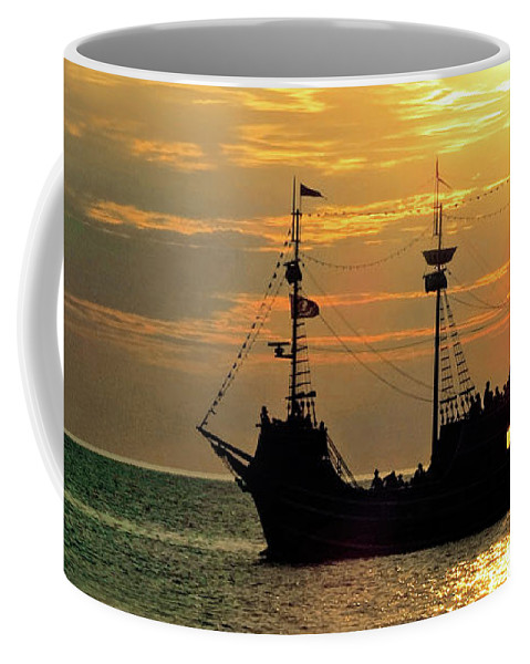 Ship Coffee Mug featuring the photograph Sailing Into The Sunset by A H Kuusela