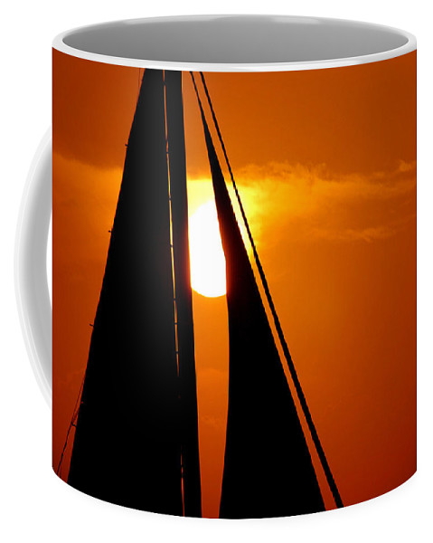 Photography Coffee Mug featuring the photograph Sailing Into The Sunset by Susanne Van Hulst