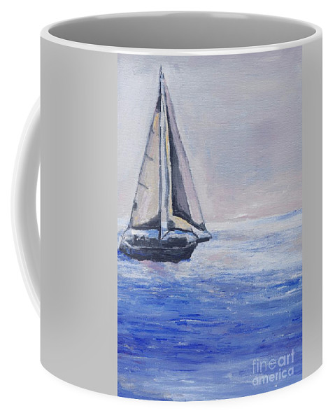 Sunset Coffee Mug featuring the painting Sailing Off Cape May Point by Eric Schiabor