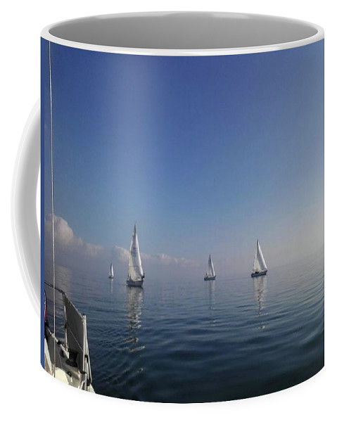 Sailing Coffee Mug featuring the photograph Sailing On Glass by Patricia LaHuis