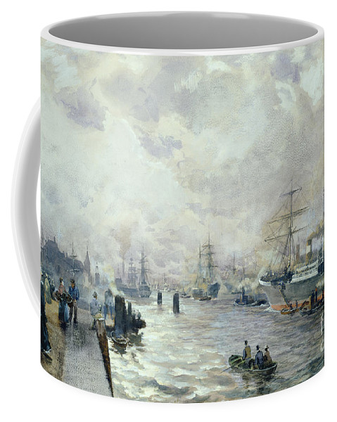 Sailing Coffee Mug featuring the painting Sailing Ships In The Port Of Hamburg by Carl Rodeck