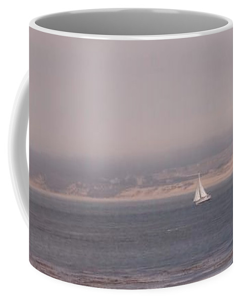 Sailing Sail Sailboat Boating Boat Ocean Pacific Bay Sea Seascape Nature Outdoors Marine Beach Coffee Mug featuring the photograph Sailing Solo by Pharris Art