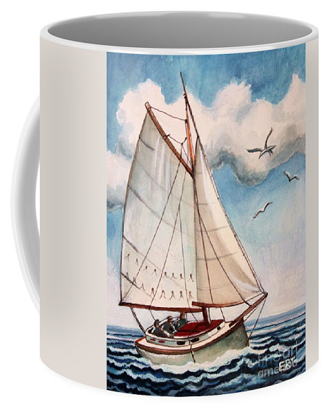 Sailing Coffee Mug featuring the painting Sailing Through Open Waters by Elizabeth Robinette Tyndall