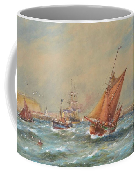 Robert Malcolm Lloyd (1859-1907) Sailing Vessels Off A Harbour Entrance Coffee Mug featuring the painting Sailing Vessels Off A Harbour Entrance by MotionAge Designs