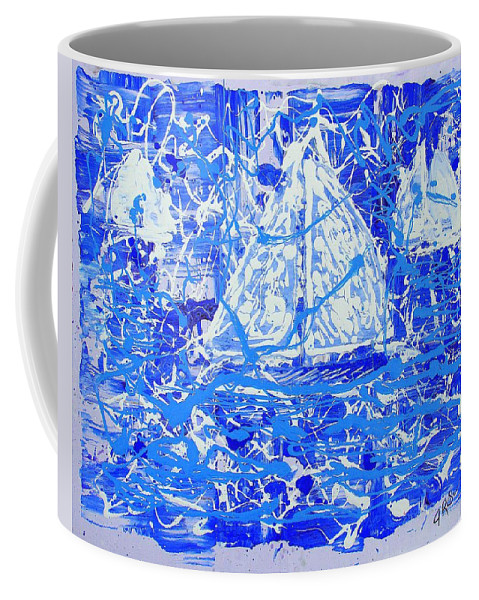 Sailing Coffee Mug featuring the painting Sailing With Friends by J R Seymour