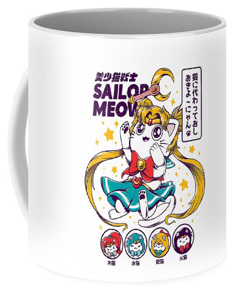 Cat Coffee Mug featuring the digital art Sailor Meow by Steve Evan