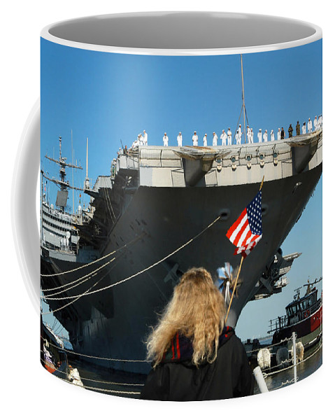 Color Image Coffee Mug featuring the photograph Sailors Aboard Aircraft Carrier Uss by Stocktrek Images