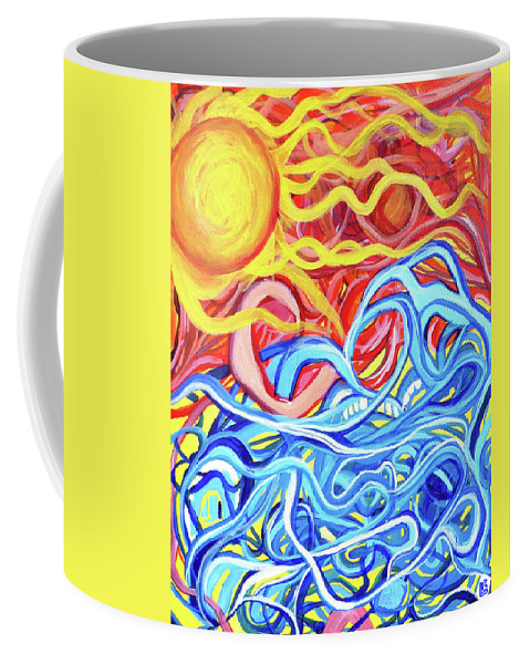 Abstract. Sun Coffee Mug featuring the painting Sailor's Warning by Larry Calabrese