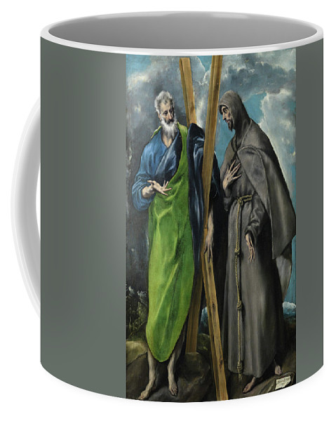 Andrew Coffee Mug featuring the painting Saint Andrew And Saint Francis by El Greco