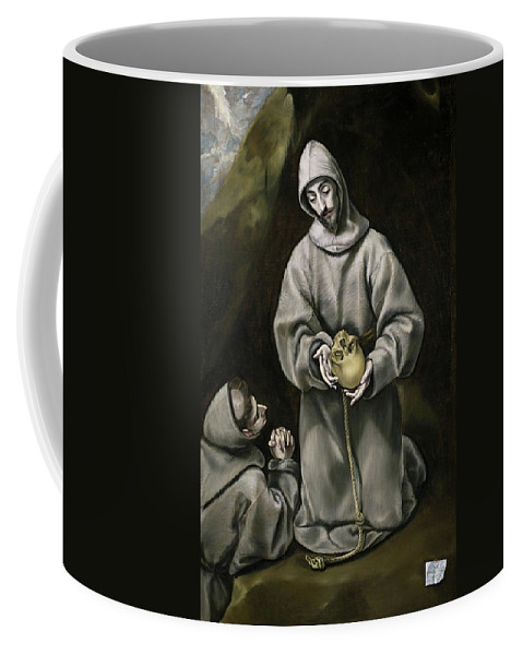 Assisi Coffee Mug featuring the painting Saint Francis And Brother Leo Meditating On Death by El Greco