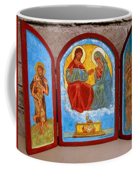 Francis Coffee Mug featuring the painting Saint Francis Tryptich Opened by Sarah Hornsby