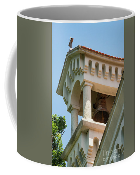 Burgazada Island Princes Islands Adalar Istanbul Turkey Greek Orthodox Church Of Hagios Loans Prodromes Saint John The Baptist Churches Place Of Worship Places Of Worship City Cities Cityscape Cityscapes Building Buildings Structure Structures Cross Crosses Architecture Bell Tower Bells Towers Coffee Mug featuring the photograph Saint John The Baptist Bell Tower by Bob Phillips