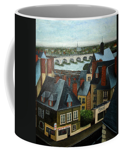 Acrylic Coffee Mug featuring the painting Saint Lubin Bar In Lyon France by Nancy Mueller