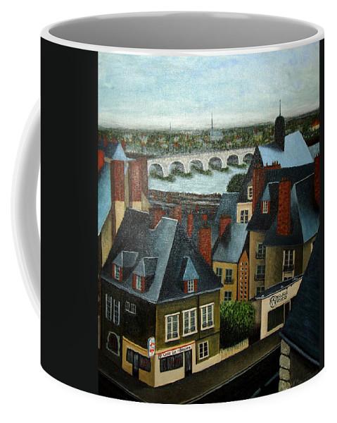 Acrylic Coffee Mug featuring the painting Saint Lubin Bar in Lyon France by Nancy Mueller