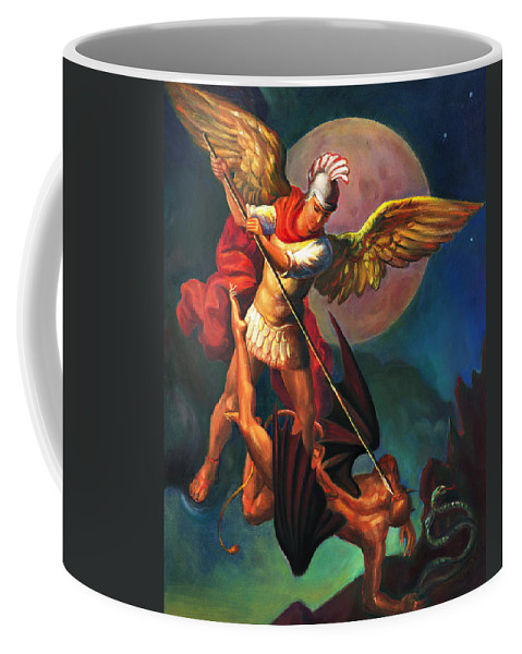 Bible Coffee Mug featuring the painting Saint Michael The Warrior Archangel by Svitozar Nenyuk
