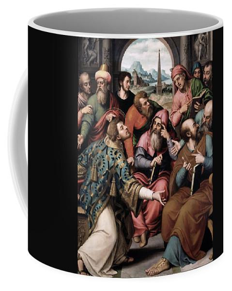 Juan De Juanes Coffee Mug featuring the painting Saint Stephen In The Synagogue by Juan de Juanes