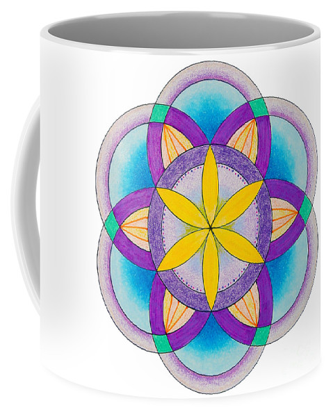 Sacred Geometry Coffee Mug featuring the painting Sakred Art Seed Of Life by Kathryn Yeatman