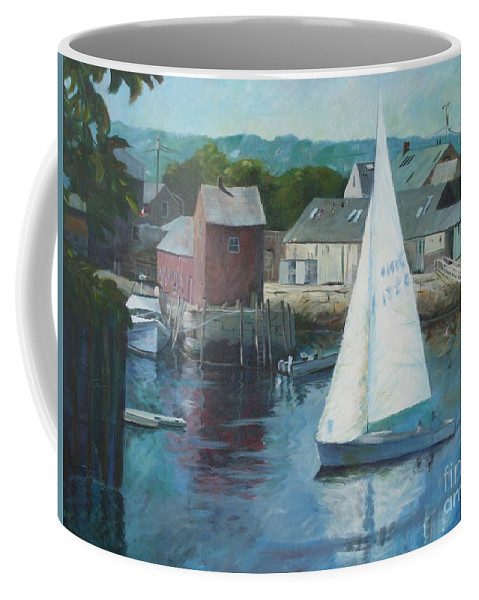 Red Coffee Mug featuring the painting Saling In Rockport Ma by Claire Gagnon