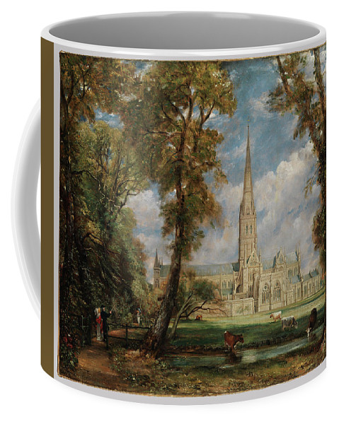Salisbury Cathedral From The Bishop's Grounds Coffee Mug featuring the painting Salisbury Cathedral From The Bishop Grounds by MotionAge Designs
