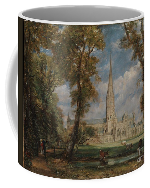 Salisbury Cathedral From The Bishop's Grounds Coffee Mug featuring the painting Salisbury Cathedral by Celestial Images