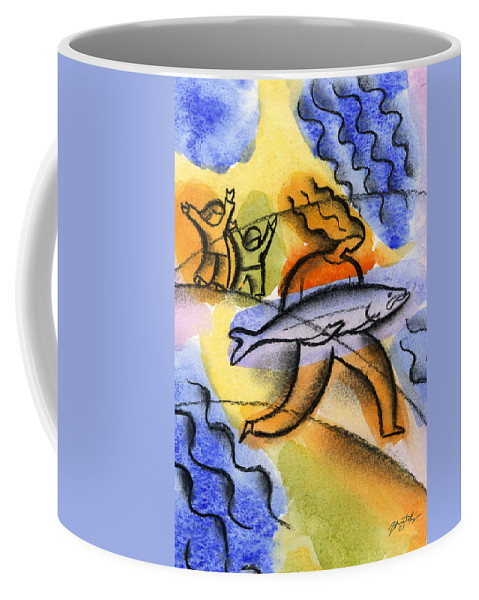 Alaska Salmon Fishing Canada Fish Good Catch Coffee Mug featuring the painting Salmon Fishing by Leon Zernitsky