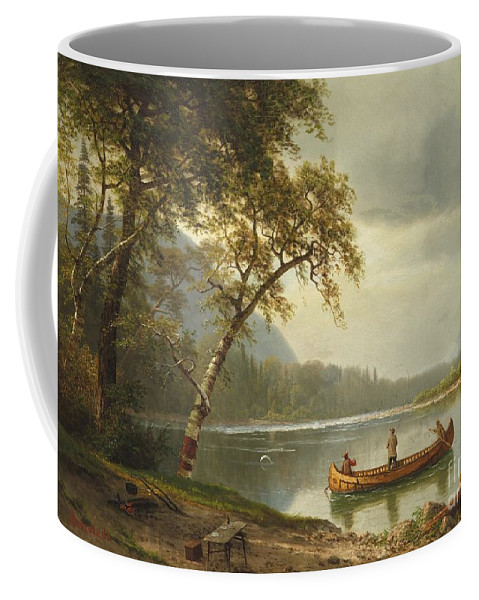 Landscape; Rural; Countryside; Canadian; Fishermen; Boat; Leisure; Calm; Peaceful; Kayak; Camp; Campfire; Fire; Kettle; Scenic; Riverbank Coffee Mug featuring the painting Salmon Fishing On The Caspapediac River by Albert Bierstadt