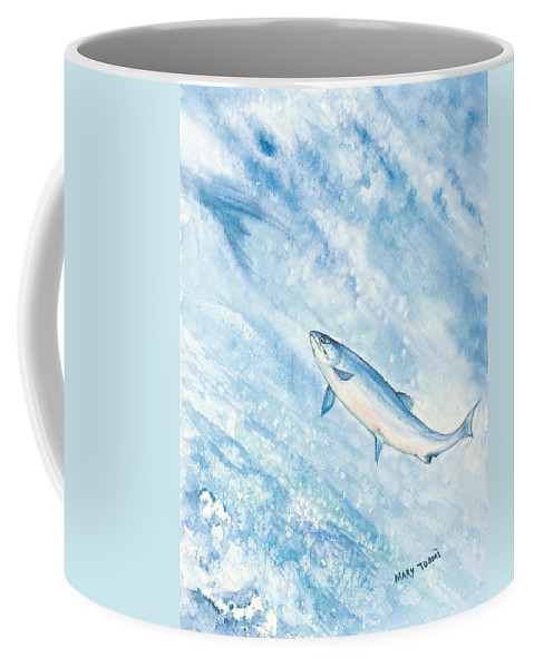 Fish Coffee Mug featuring the painting Salmon by Mary Tuomi