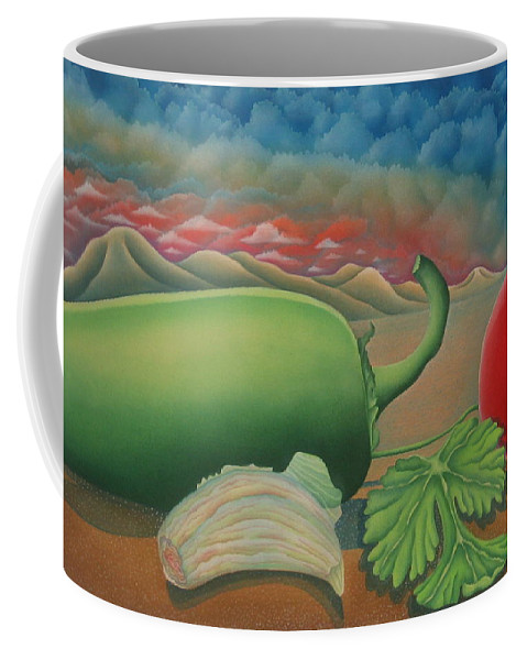 Vegetables Coffee Mug featuring the painting Salsa Across Texas by Jeniffer Stapher-Thomas