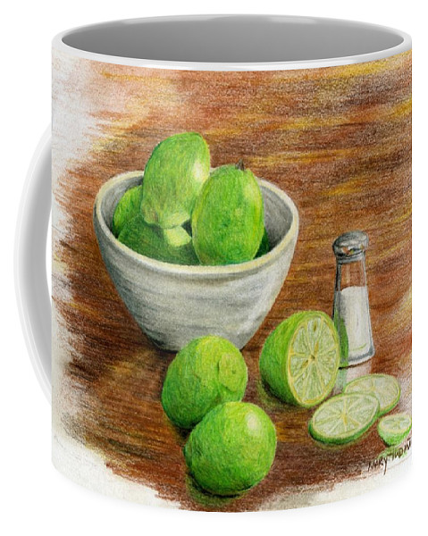 Fruit Coffee Mug featuring the painting Salt And Lime by Mary Tuomi