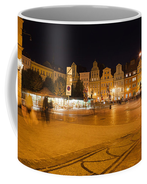Wroclaw Coffee Mug featuring the photograph Salt Square In Wroclaw At Night by Artur Bogacki