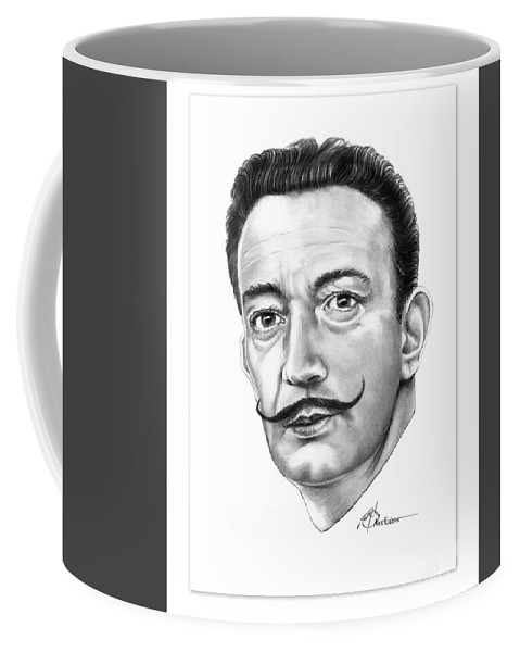 Drawing Coffee Mug featuring the drawing Salvador Dali by Murphy Elliott