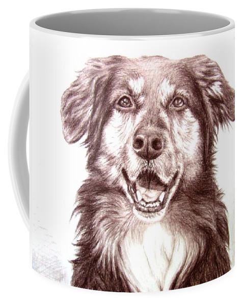 Dog Coffee Mug featuring the drawing Sam by Nicole Zeug