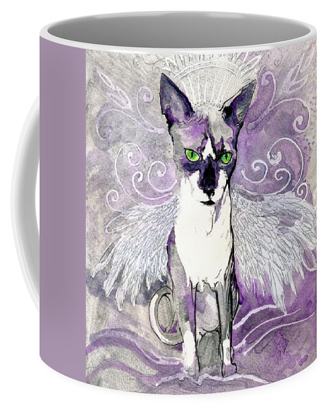 Cat Coffee Mug featuring the painting Sam The Sphinx by Katherine Nutt