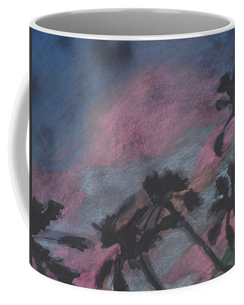 Contemporary Tree Landscapes Coffee Mug featuring the drawing San Diego palms by Leah Tomaino