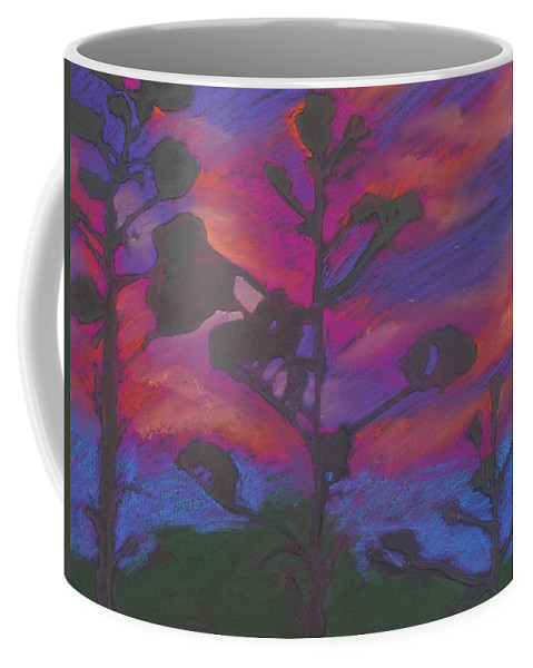 Contemporary Tree Landscape Coffee Mug featuring the mixed media San Diego Sunset by Leah Tomaino