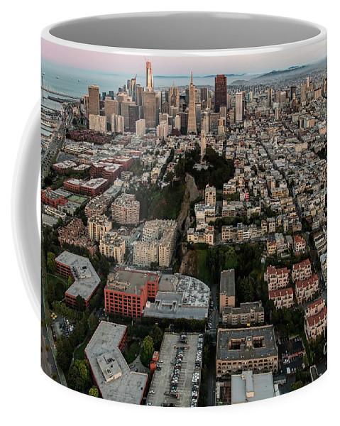 Coit Tower Coffee Mug featuring the photograph San Francisco Skyline And Coit Towersan Francisco Skyline And Coit Tower by David Oppenheimer