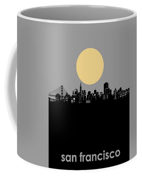 San Francisco Coffee Mug featuring the digital art San Francisco Skyline Minimalism by Bekim M