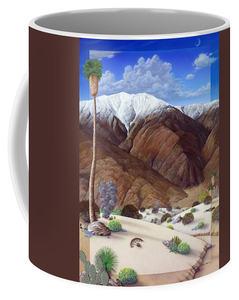 Desert Coffee Mug featuring the painting Snow Creek by Snake Jagger