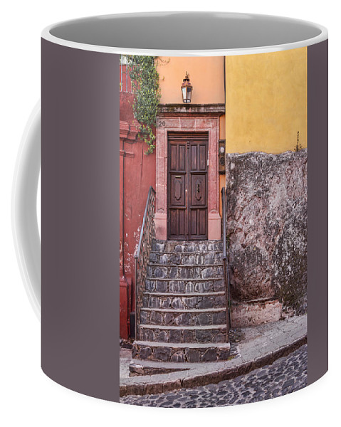 San Miguel Coffee Mug featuring the photograph San Miguel Steps And Door by Lindley Johnson