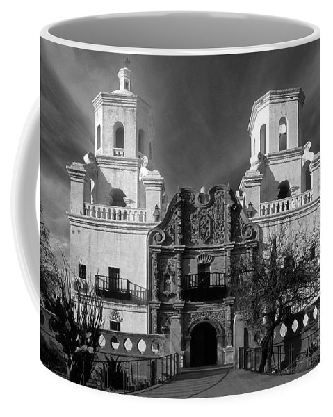 B&w Coffee Mug featuring the photograph San Xavier Del Bac Mission by Sandra Bronstein