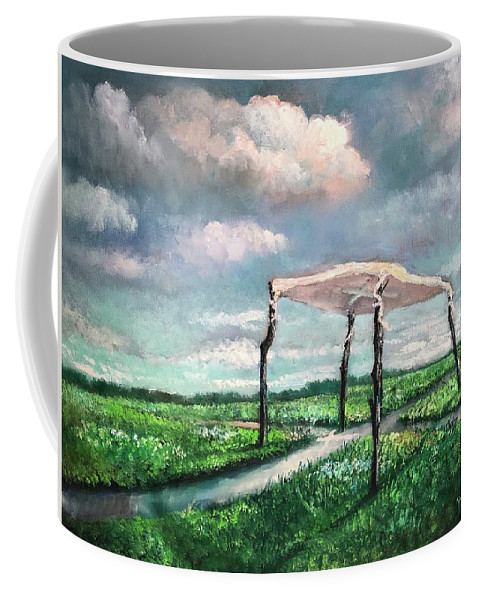 Sanctuary Coffee Mug featuring the painting Sanctuary by Randy Burns